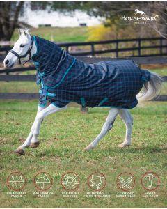 Amigo Pony Plus 50G från Horseware - BlackCheck, Teal/Silver